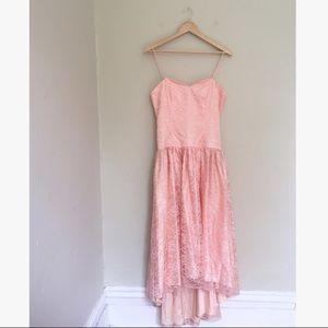 Vintage Pink Lace 80's Prom Dress